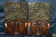 Sale 8550 - Lot 1563 - Pair of Buddha Face Plaques