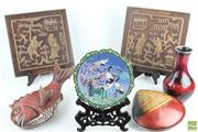 Sale 8546 - Lot 60 - Cloisonne Plate on Stand Together With Red Vase, Fish And Shell Containers And Panels