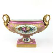 Sale 8562R - Lot 66 - Limoges Porcelain Jardiniere with Gilt Swan Handles and Floral Motifs (H: 21cm W: 31cm