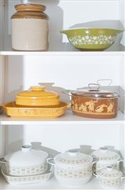 Sale 8562A - Lot 236 - Three shelf lots of mainly ceramic table wares including Royal Doulton, stoneware lidded jar, etc