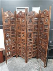 Sale 8676 - Lot 1004 - Four Panel Pierced Timber Dressing Screen