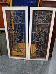 Sale 8688 - Lot 1053 - Pair of Leadlight Windows (crack to one)
