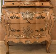 Sale 8510A - Lot 2 - A continental bombe commode with painted and git floral decoration, H x 85, W x 85cm, D x 34cm