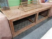 Sale 8740 - Lot 1053 - Rustic Timber Coffee table with Parquetry Top