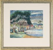 Sale 8773 - Lot 632 - George Duncan (1904 - 1974) - Sheds at Lake 29.5 x 35.5