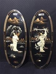 Sale 9051 - Lot 1067 - Pair of Oval Chinese Wall Plaques