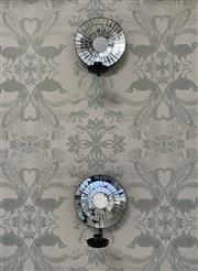 Sale 9087H - Lot 245 - Pair of Mirrored Wall Sconces with candle stick holder (H 27cm Dia 60cm