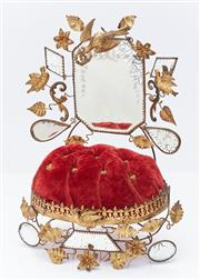 Sale 9080W - Lot 36 - A Victorian red velvet table top pin cushion with ornate reflective mirrors and decorated with birds and flowers. Height 21cm