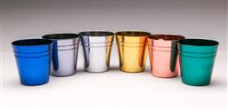 Sale 9098 - Lot 75 - A Leather Cased Set of Six Peacock Ware Anodised Stackable Cups, Stokes Melbourne, H: 14cm