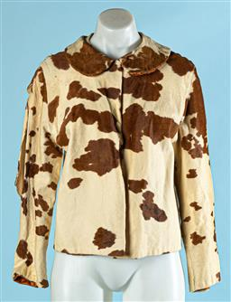 Sale 9091F - Lot 244 - A VINTAGE MARK FOYS COW HIDE CROP TOP JACKET;  large rip to RH sleeve, nick to RH shoulder and small tear to RH cuff.