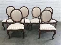 Sale 9121 - Lot 1044 - Set of six French style dining chairs incl. two carvers (h:102 w:57 d:56cm)