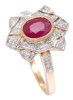 Sale 9156J - Lot 350 - A DECO STYLE 9CT GOLD RUBY AND DIAMOND RING; centring a millegrain set oval cut ruby to a pierced surround and shoulders set with ro...