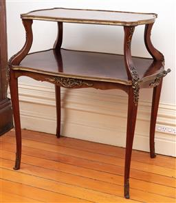 Sale 9190H - Lot 215 - A French antique 2 tier mahogany serving table C: 1895. The graduated conforming tiers with boxwood stringing and brass edge banding...