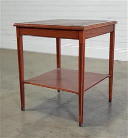 Sale 9188 - Lot 1408 - Timber 2 tier side table with leather top (h:70 w:59 d:59cm)