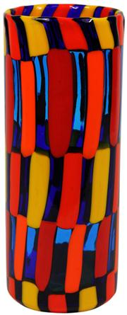 Sale 8065 - Lot 69 - Murano Pezzato Patchwork Murrine Cylinder Glass Vase by Angelo Ballarin