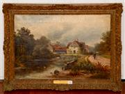 Sale 8107B - Lot 64 - Maple Durham Oxford by F W Pike British 19th Century oil on canvas signed  Size: 41 x 66 cm