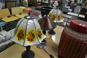 Sale 8159 - Lot 1074 - Pair of Leadlight Shade Table Lamps & Amber Shade Table Lamp (3)