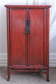 Sale 8800 - Lot 152 - A Chinese red lacquer two door cupboard, H 93 x W 49 x D 32cm