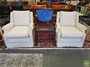 Sale 8465 - Lot 1602 - Pair of Cream Fabric Lounge Chairs