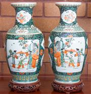 Sale 8515A - Lot 91 - A pair of Chinese famille verte baluster vases on carved timber bases, H 40cm