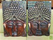 Sale 8550 - Lot 1462 - Pair of Buddha Face Plaques