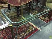 Sale 8620 - Lot 1015 - Glass Top Coffee Table on Metal Base & Scrolled Legs