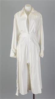 Sale 8661F - Lot 98 - A Yohji Yamamoto white cotton exaggerated overcoat with a high split to the centre back and zip closure to the front, size 2