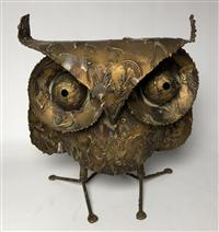 Sale 8725A - Lot 2 - Large Drip-Finished Brutalist Metal Owl Sculpture by Curtis Jere circa 1970,. Height 38cm