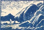 Sale 8896A - Lot 5014 - Lewis Roy Davies (1897 - 1979) - Untitled (Fishing of the Rocks) 6.5 x 9.5 cm