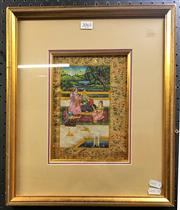 Sale 8949 - Lot 2004 - Indo-Persian School Mogul and Courtiers  gouache, 41 x 35cm (frame)., inscribed