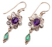 Sale 9037 - Lot 374 - A PAIR OF 9CT GOLD SUFFRAGETTE STYLE GEM SET CLUSTER EARRINGS; each a round cut amethyst to 4 seed pears and a pear cut emerald drop...