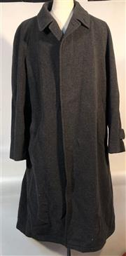 Sale 9080F - Lot 72 - A GENTS PURE WOOL OVERCOAT; in grey with two side pockets, two internal pockets and belt, Size XL  some small tears to fabric