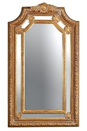 Sale 9080J - Lot 191 - Large gilded mirror comprising of central bevelled glass and six additional bordering facets, height 202, width 119cm. Break to left...