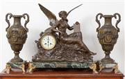 Sale 9070H - Lot 62 - A clock garniture, the central clock with winged depiction of LHistoire after Raphael with painted enamel dial flanked by two class...