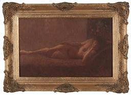 Sale 9161A - Lot 5070 - EARLY C20TH BELGIAN SCHOOL Reclining Nude oil on canvas 33.5 x 52 cm (frame: 50 x 69 cm) .