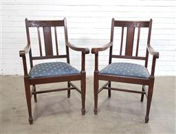Sale 9151 - Lot 1361 - Pair of oak carvers with upholstered seats (h:99 x w:58 x d:44cm)