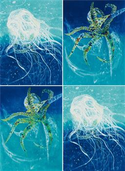 Sale 9189A - Lot 5050 - FRANK HODGKINSON (1919 - 2001) (4 works) 'Chinorex (2); Octopus (2), 1997' etchings and aquatints with hand colouring, eds. 37, 55, .