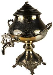 Sale 8057 - Lot 95 - Silver Plated Two Handled Samovar