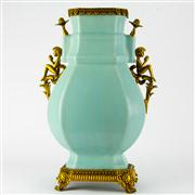 Sale 8221 - Lot 15 - Chien Lung Marked Celadon French Bronze Applied Vase