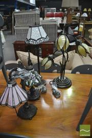 Sale 8406 - Lot 1130 - Four Leadlight Shade Table Lamps