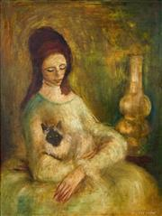 Sale 8443 - Lot 505 - William Drew (1928 - 1983) - Woman and Cat 59.5 x 44cm