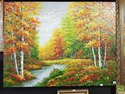 Sale 8449 - Lot 2069 - Artist Unknown - Autumn Forest with River,acrylic on canvas, 90 x 121cm, signed lower right