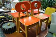 Sale 8532 - Lot 1391 - Set of 4 Rustic Danish Painted Childrens Chairs