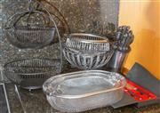 Sale 8562A - Lot 235 - A quantity of metal basket wares including two tier black wire fruit bowl, etc, together with a knife block set with knives, and a b...