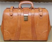 Sale 8568A - Lot 162 - A vintage Air New Zealand pilots tan leather Gladstone style briefcase, W 42cm