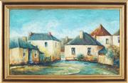 Sale 8794 - Lot 2056 - J Stockham - Old Houses, Battery Point, 1967 oil on board, 33 x 56.5cm, signed and dated lower left -