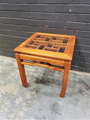 Sale 9017 - Lot 1038 - Chinese glass top lamp table (H50 x W54 x D54cm)