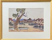 Sale 9044J - Lot 83 - Otto Pareroultja - Central Australia 35x52cm,