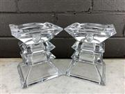 Sale 9056 - Lot 1002 - Pair of Large Possibly Bleikristall Crystal Brutalist Candle Holders (h:12cm)