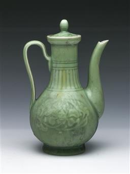 Sale 9098 - Lot 174 - Celadon glazed covered ewer decorated with floral roundels (H22cm)